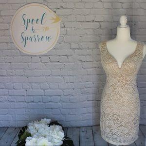 Emerald Sundae White Lace Overlay Bodycon Dress